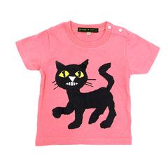 ねないこだれだ 80cm くろねこTシャツ ピンク(バッジ付き)