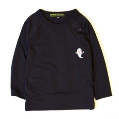 (S)せなけいこ 長袖Tシャツ ねないこだれだ刺繍 ブラック