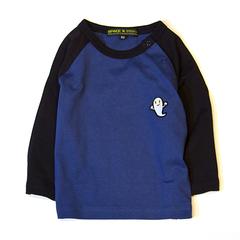 (XL)せなけいこ 長袖Tシャツ ねないこだれだ刺繍 ネイビー