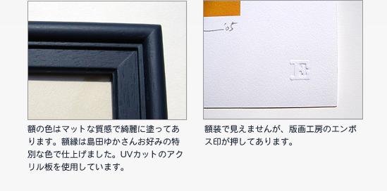 額の色はマットな質感で綺麗に塗ってあります。額縁は島田ゆかさんお好みの特別な色で仕上げました。UVカットのアクリル板を使用しています。