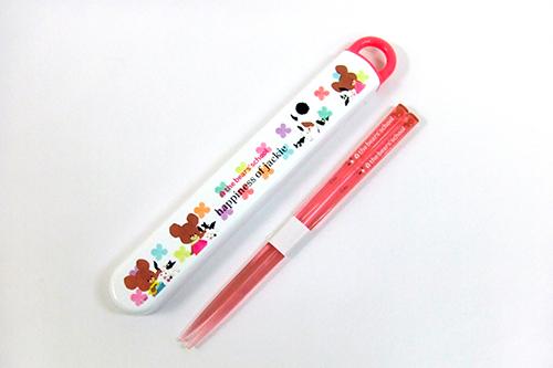くまのがっこう 箸&ケース 165mm クローバー(ピンク・白)