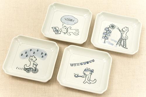 馬場のぼる ねこの豆皿4枚セット 空(7〜10月)の商品画像2