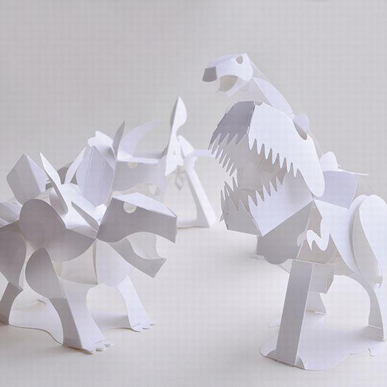 恐竜ペーパークラフト トリケラトプス