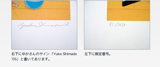 右下にゆかさんのサイン「Yuka Shimada '05」と書いてあります。